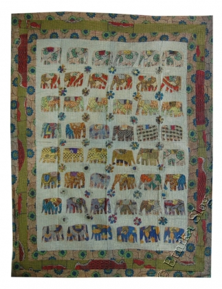 EMBROIDERED AND DECORATED INDIAN BEDSPREAD